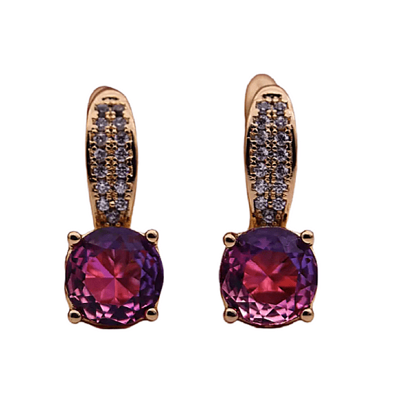 Purple Pink CZ Rose Gold Dangle Earrings - Ella Moore