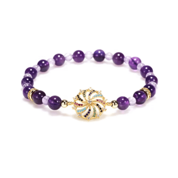 Purple Amethyst bead beaded stretch bracelet with Pave set Rhinestone charm - Ella Moore