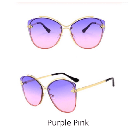 Purple Pink Cateye Cat Eye Bee UV 400 Women sunglasses - Ella Moore