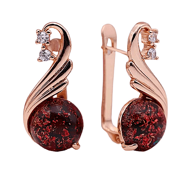 red onyx amber rose gold dangling earrings - ella Moore