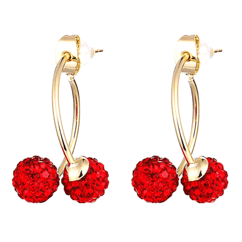 Red Double Rhinestone Disco Ball Gold Hoop Earrings - Ella Moore