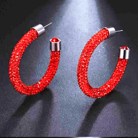 Red Sparkling Rhinestone Hoop End Gem Hoop Earrings - Ella Moore