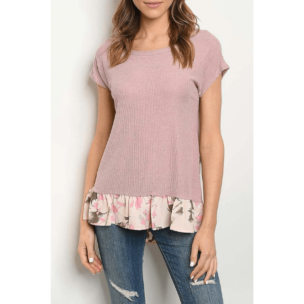 Dusty Rose Pink Floral Flower Ruffle Women Short Sleeves TShirt Top Blouse- Ella Moore