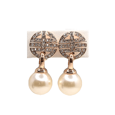 Round  CZ Cubic Zironia Drop Pearl Clip On Earrings - Ella Moore