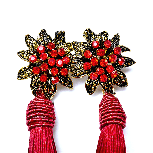 Royal Red Rhinestone Flower Tassel Drop Danging Earrings - Ella Moore