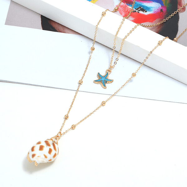 White & Brown Seashell & Turquoise Starfish Necklace - Ella Moore