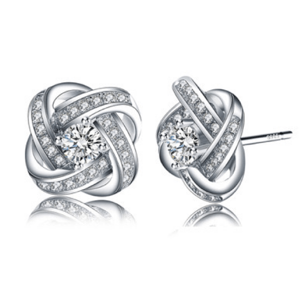 Sparkling Flower Floral CZ Cubic Zirconia 925 Sterling Silver Stud Earrings - Ella Moore