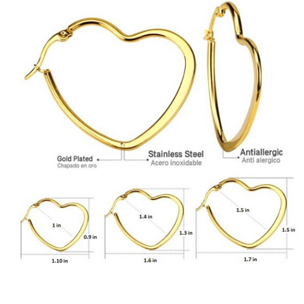 3 Piece Gold Stainless Steel Heart Hoop Earrings Set - Ella Moore