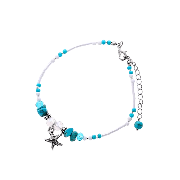 Starfish Turquoise Blue White Clear Crystal Bead Anklet - Ella Moore