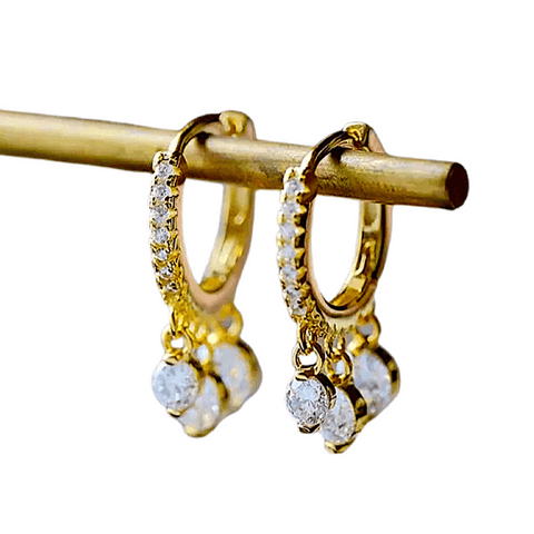 Sterling Silver Dangling CZ Cubic Zirconia drops Huggie Small  Gold Hoop earrings - Ella Moore