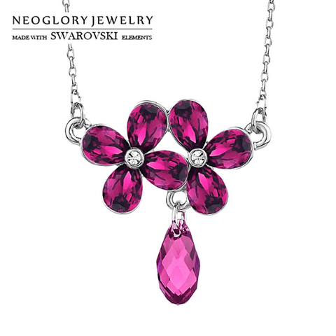 Swarovski Purple Crystal Flower Silver Necklace