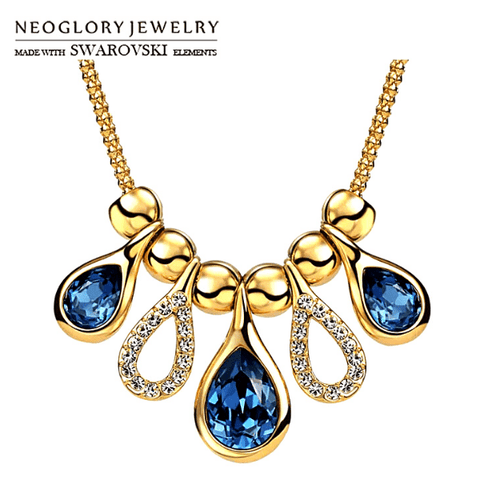 Swarovski Royal Blue Crystal Tear Drop Gold Necklace