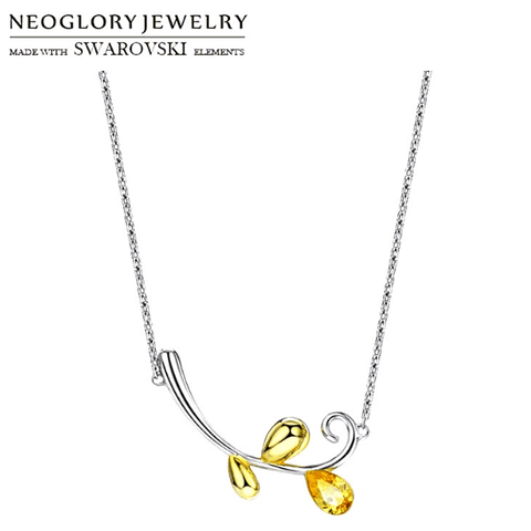 Yellow Crystal Flower Branch Leaf Silver Necklace - Ella Moore