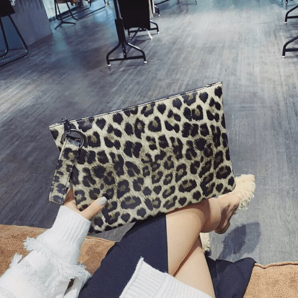 Tan Large Leopard Pouch Clutch with Wrist Strip - Ella Moore