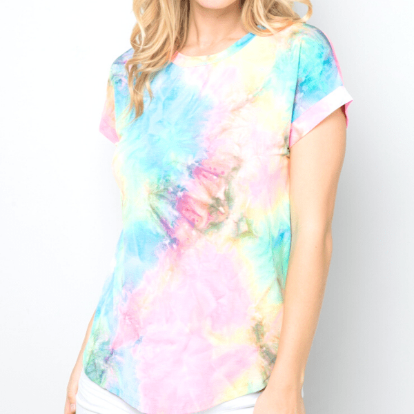 Amy Tie Dye Short Sleeve Round Neck Women Top T-shirt Blouse - Ella Moore