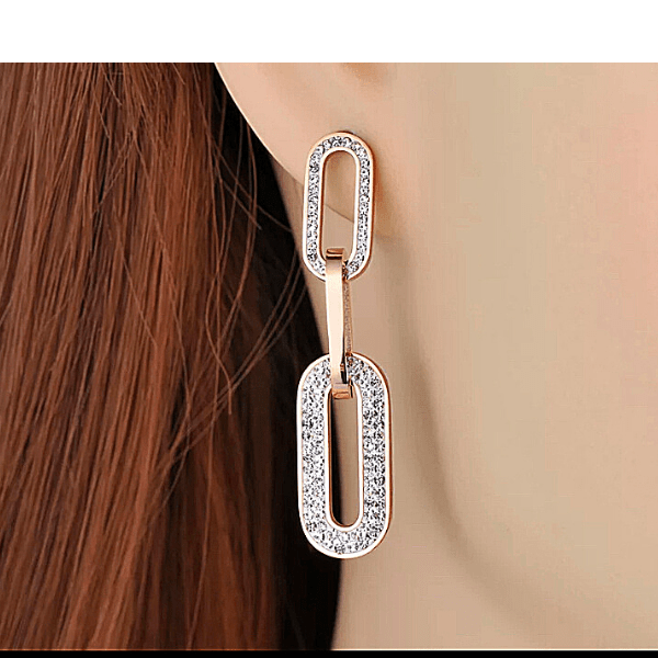 Rhinestone Rose Gold Link Earrings - Ella Moore