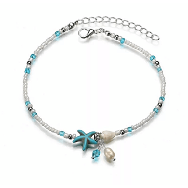 Turquoise Blue White & Clear Starfish & Seashell  Shell Crystal Beads - Ella Moore