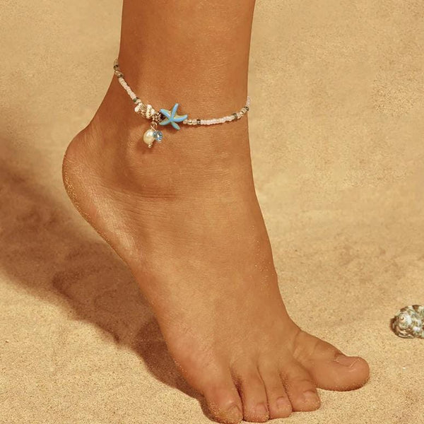 Starfish & Seashell Beaded Anklets - Multiple Styles