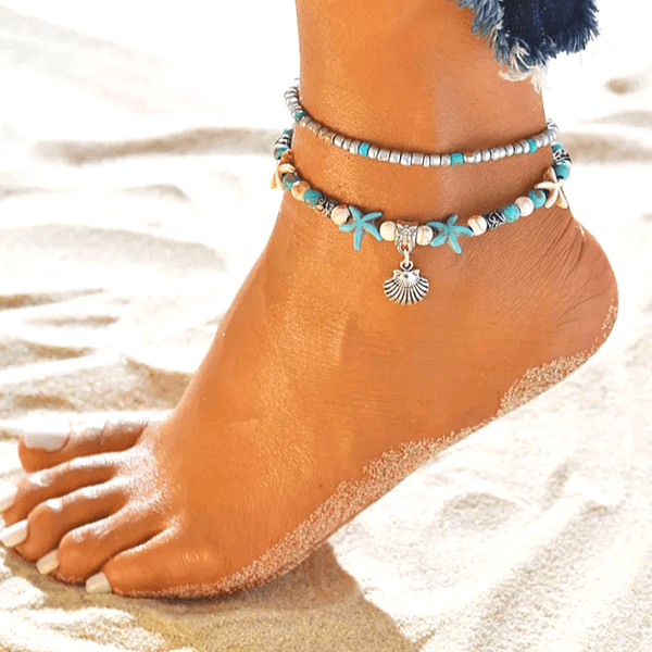 Turquoise Starfish Ivory  Silver Shell Seashell Double Crystal & Bead Anklets - Ella Moore