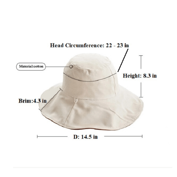 Two Tone Reversible Foldable Travel Ivory Beige Cotton Womens Bucket Hat - Ella Moore