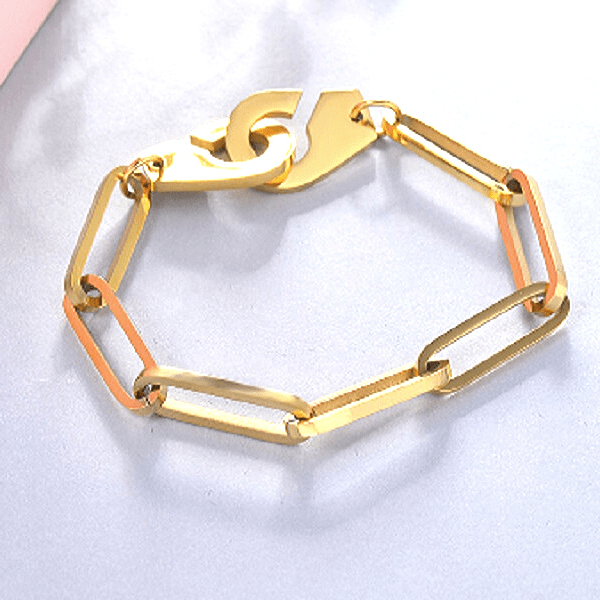 Gold Plated Cuff Chain Bracelet - Ella Moore