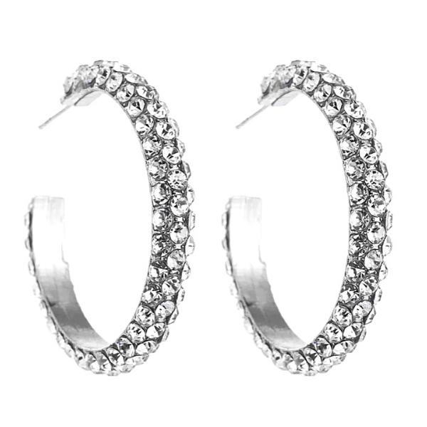 White Clear Silver  C-shaped Gold Rhinestone Hoop Silver Earrings - Ella Moore