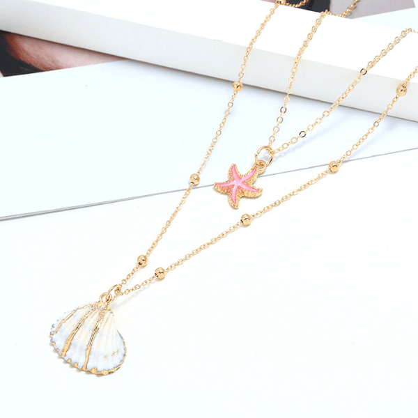 White Seashell & Pink Starfish Gold Necklace - Ella Moore