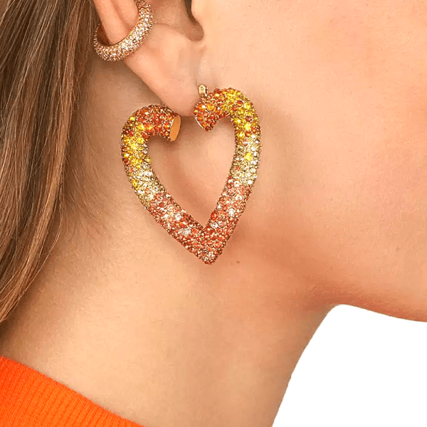 Yellow Orange Red Large Heart Rhinestone Hoop Earrings - Ella Moore