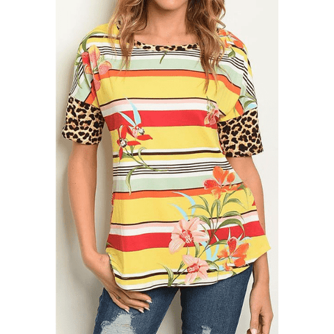 Yellow & Red Floral Leopard Print Open Back Women Top -  Ella Moore