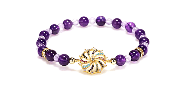 Amethyst Stretch Bead Bracelet with Pave set Rhinestone charm