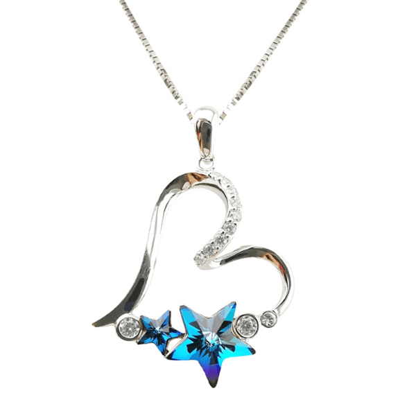 Stunning Blue Austrian Crystal Star Sterling Silver Heart Necklace - Ella Moore