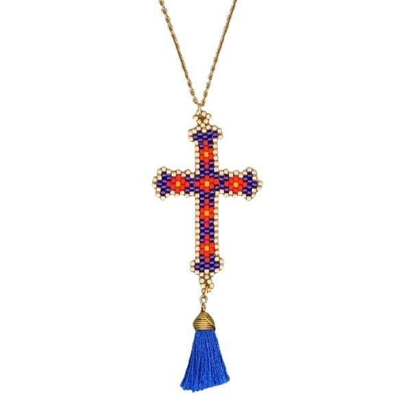 Blue-Bohemian Hand-made Mikyuki Seed Bead Gold Cross Necklace - Ella Moore