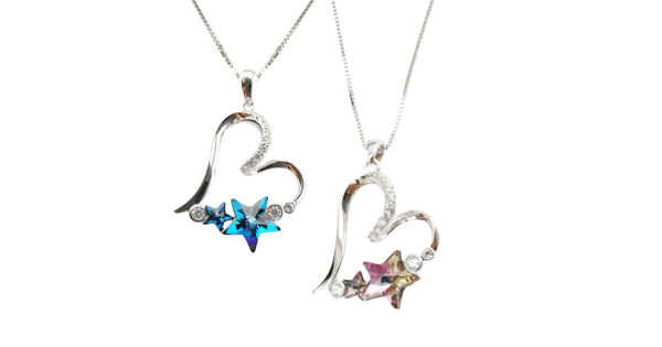 Blue & Pink Stunning Austrian Crystal Star Sterling Silver Heart Necklace - Ella Moore