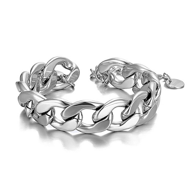 Silver Titanium Stainless Steel Chain Linked Bracelet - Ella Moore