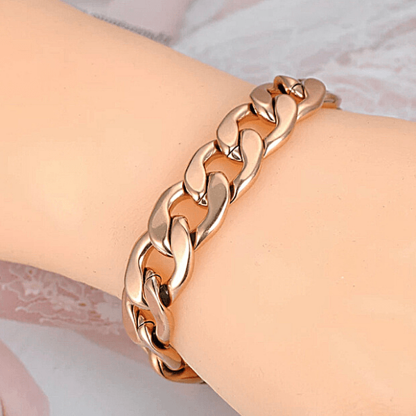 Bold Yellow Gold Chain Linked Bracelet - Ella Moore