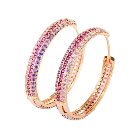 Brilliant Micro Pave CZ Colorful Large Women Gold Hoop Earrings