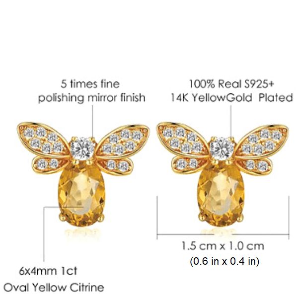 Bumblebee Bee Citrine 925 sterling silver gold earrings - Ella Moore
