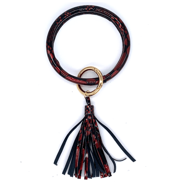 Animal Print Tassel Key Ring Bracelet - 11 colors to choose from
