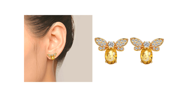 Citrine & CZ 925 Sterling Silver Bee Earrings - Ella Moore