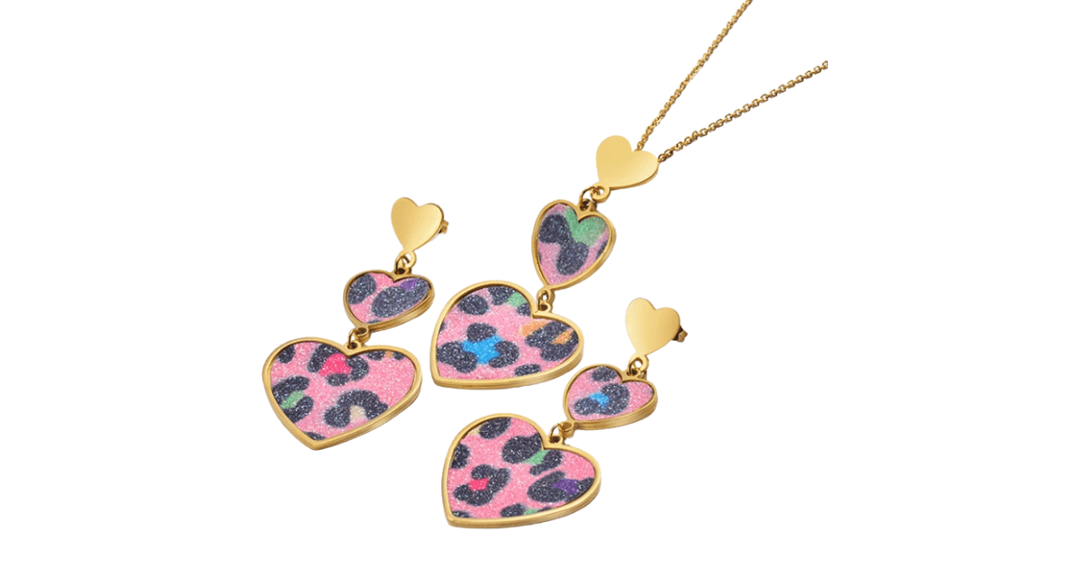 Colorful Pink Leopard Gold Heart Pendant Necklace & Earrings Set - Ella Moore