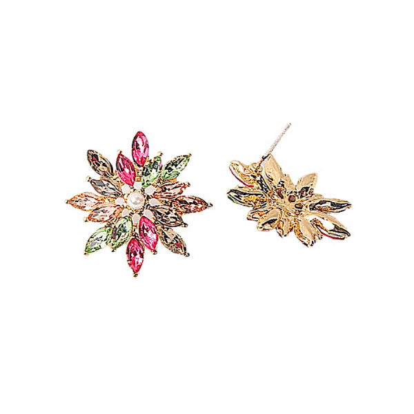Colorful CZ Pearl Snowflake Star Flower gold earring studs - ella Moore