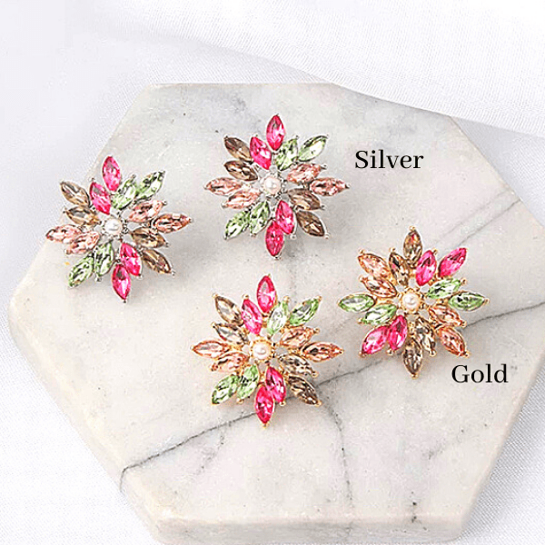 Colorful CZ Pearl Snowflake Star Flower silver &  gold earring studs - ella Moore