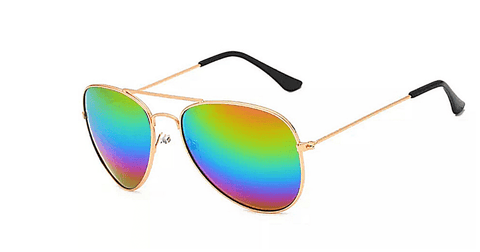 Colorful Mirrored Rainbow Women Aviator Sunglasses