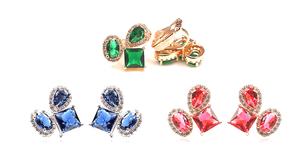 Colorful CZ Cubic Zirconia Silver or Gold Clip On  Earrings - Ella Moore