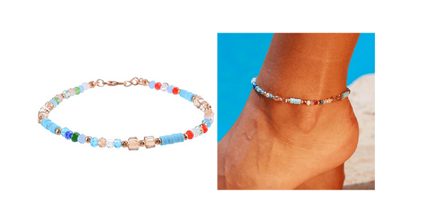crystal boho beach beaded anklet - ella Moore