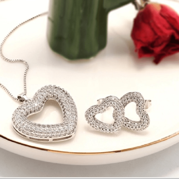cubic zirconia CZ Rhodium Heart Earring and Necklace- Ella Moore