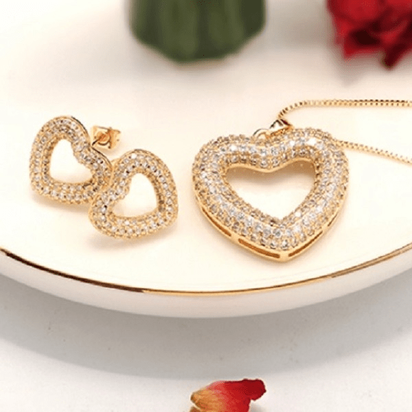 Cubic Zirconia CZ Gold Heart Earrings and Necklace - Ella Moore