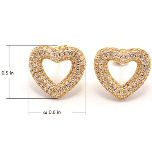 Cubic Zirconia CZ Gold Heart Earrings - Ella Moore