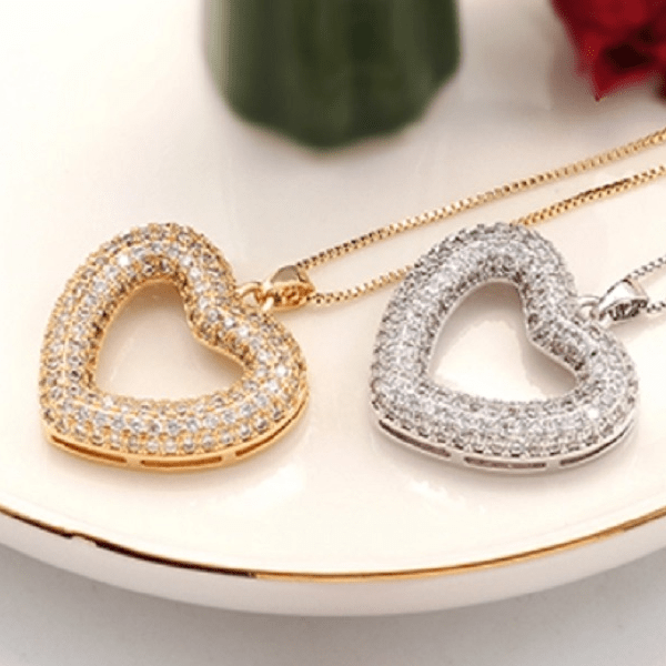 cubic zirconia CZ Rhodium or Gold Heart Necklace- Ella Moore