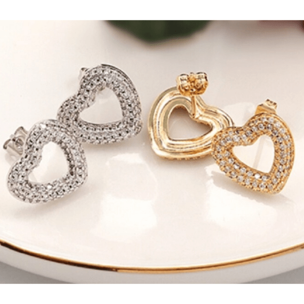 cubic zirconia CZ Rhodium or Gold Heart Earring- Ella Moore